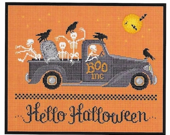 Counted Cross Stitch Pattern, Hello Halloween, Halloween Decor, Skeletons, Crows, Full Moon, Farmstead, Sue Hillis Designs, PATTERN ONLY