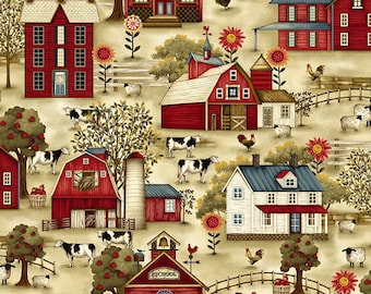 Quilt Fabric, Count Your Blessings, Farm Scene, Cows, Chickens, Sheep, Barns, Cotton Quilting Fabric, Color Principle, Henry Glass Fabrics
