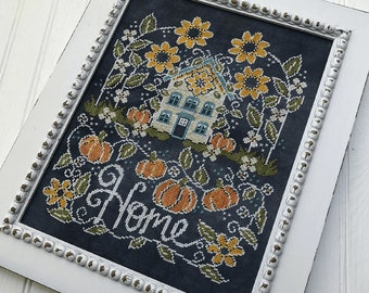 Counted Cross Stitch Pattern, Sunflower Manor, Chalk Artwork, Sunflowers, Pumpkins, Farmhouse Decor, Hands On Design, PATTERN ONLY