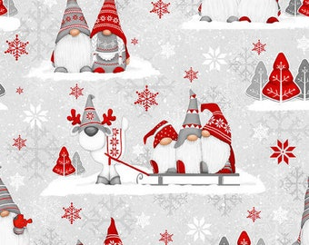 Flannel Fabric, Winter Whimsy, Gnomes, Groups of Gnomes, Winter Flannel, Cotton Flannel, Quilting Flannel, Shelly Comiskey, Henry Glass