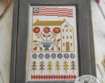 Counted Cross Stitch Pattern, Baltimore Saltbox, Saltbox, Patriotic Decor, Americana, American Flag, Primitive, Brenda Gervais, PATTERN ONLY