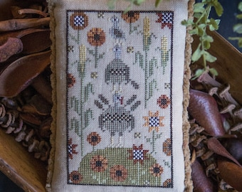 Counted Cross Stitch Pattern, Gobble Gob, Turkeys, Sunflowers, Corn Stalks, Thanksgiving Decor, Fall, Plum Street Sampler, PATTERN ONLY