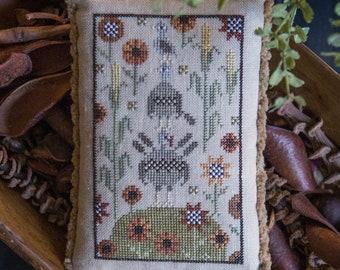 Counted Cross Stitch Pattern, Gobble Gob, Turkeys, Sunflowers, Corn Stalks, Thanksgiving Decor, Fall, Plum Street Sampler, PATTERN ONLY