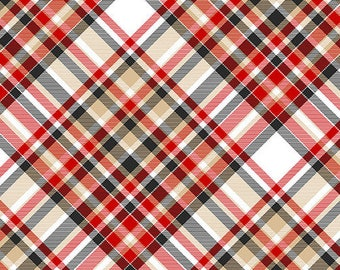 Flannel Fabric, Flannel Gnomies, Bias Plaid Flannel, Winter Flannel, Cotton Flannel, Quilting Flannel, Shelly Comiskey, Henry Glass