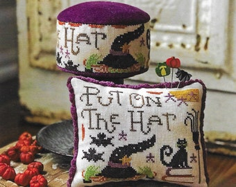 Counted Cross Stitch Pattern, Put on the Hat, Pincushion, Ornament Pillow, Halloween Decor, Witch Hat, Hands On Design, PATTERN ONLY