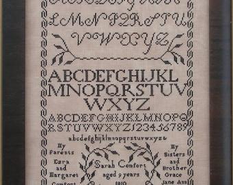 Cross Stitch Pattern, Sarah Comfort 1810, Reproduction Sampler, Plymouth Meeting, Quaker Sampler, Queenstown Sampler Designs, PATTERN ONLY