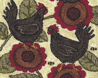 Punch Needle Pattern, Bloomin Hens, Chickens, Flowers, Country Decor, Primitive Decor, Teresa Kogut, Punch Needle Embroidery, PATTERN ONLY
