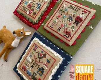 Counted Cross Stitch Pattern, Christmas Square Dance 3, Christmas Decor, Hats, Mittens, Toys, Santas, Ornament, Heart in Hand, PATTERN ONLY