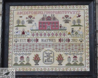 Counted Cross Stitch Pattern, The Haynes Sampler, Family Sampler, Alphabet, Inspirational, Annie Beez Folk Art, PATTERN ONLY