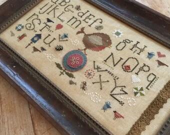 Counted Cross Stitch Pattern, Robin Sampler, Warbler, Robin, Alphabet Sampler, Folk Art, Farmhouse, Heart in Hand, PATTERN ONLY