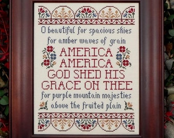 Counted Cross Stitch Pattern, America the Beautiful, Patriotic Hymn, Americana, Hymn, Inspirational, My Big Toe Designs, PATTERN ONLY