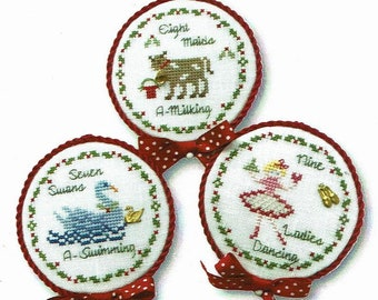 Counted Cross Stitch Pattern, Twelve Days of Christmas, Christmas Ornaments, Swans, Maids, Ladies Dancing, JBW Designs, PATTERN ONLY