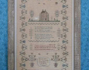 Counted Cross Stitch Pattern, Hannah Bacon, Antique Reproduction, Reproduction Sampler, Basket Motif, Rosewood Manor, PATTERN ONLY