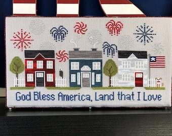 Counted Cross Stitch, Firework Lane, Cross Stitch Patterns, Patriotic Decor, Americana, Fireworks, Little Stitch Girl, PATTERN ONLY