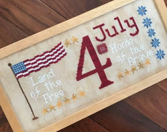 Counted Cross Stitch, July 4th, Independence Day, Land of the Free, Stars and Stripes, Red, White Blue, Romy's Creation, PATTERN ONLY