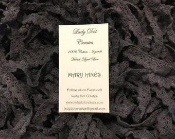 Cotton Lace Trim, Mary Janes, Lady Dot Creates, Hand Dyed Lace, Cotton Lace, Black Lace, Sewing Notion, Sewing Accessory, Sewing Trim