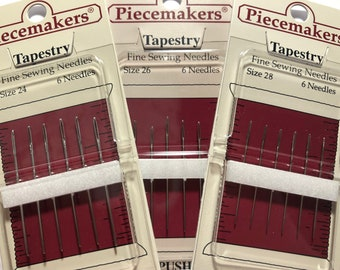 Piecemakers, Tapestry Needles, Counted Cross Stitch, Size 24, 26, 28, Embroidery, Tapestry, Needlework, Piecemakers Needles, NEEDLE ONLY