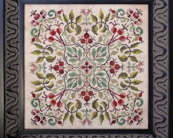 Counted Cross Stitch Pattern, After the Roses, Rose Vines, Rose Hips, Garden Decor, Cottage Chic, Shabby Cottage, Ink Circles, PATTERN ONLY