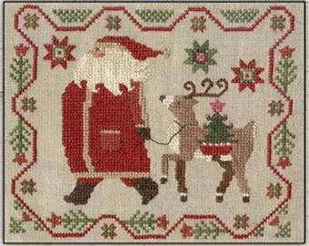 Counted Cross Stitch Pattern, Struttin, Christmas Decor, Santa, Reindeer, Primitive Decor, Teresa Kogut, PATTERN ONLY