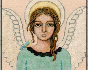 Counted Cross Stitch Pattern, Peacemaker, Christmas Decor, Angel, Scripture, Primitive Decor, Teresa Kogut, PATTERN ONLY