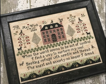 Counted Cross Stitch Pattern, Seeking Refuge, Sampler, Floral Motifs, Brick House Sampler, Primitive Decor, The Scarlett House, PATTERN ONLY
