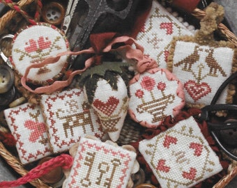 Counted Cross Stitch Pattern, Valentine, Festive Little Fobs, Sewing Accessory, Scissor Fob, Beth Twist, Heartstring Samplery, PATTERN ONLY