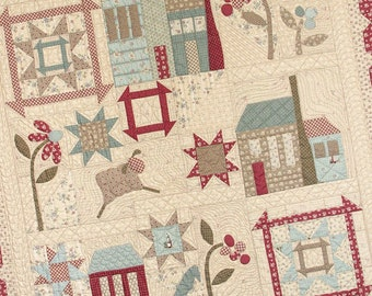 Quilt Pattern, Village Square, Lap Quilt, Wall Hanging, Sheep, Saltbox, Patchwork Quilt, Whimsicals Quilts, Terri Degenkolb, PATTERN ONLY