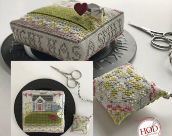 Counted Cross Stitch Pattern, The Summer Night, House on a Hill, Pincushion, Scissor Fob, Bryan Proctor, Hands On Design, PATTERN ONLY