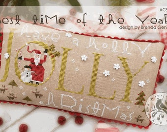 Counted Cross Stitch Pattern, The Best Time of the Year, Santa Claus, Snowman, Reindeer, Christmas Decor, Brenda Gervais, PATTERN ONLY