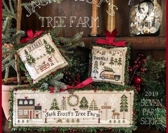 Counted Cross Stitch Pattern, Jack Frost's Tree Farm, Christmas Tree Farm, Christmas Trees, Snowman, Little House Needleworks, PATTERN ONLY