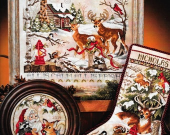 Counted Cross Stitch Pattern, Christmas in the Woods, Christmas Stocking, Santa, Reindeer, Christmas Decor, Stoney Creek, PATTERN ONLY