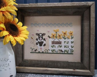 Counted Cross Stitch Pattern, Looking for Lunch, Sunflowers, Cow Farm, Dairy Farm, Sunflower Farm, Vintage NeedleArts, PATTERN ONLY