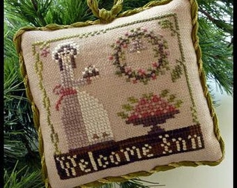 Counted Cross Stitch Pattern, Welcome Inn, Christmas Ornament, Sampler Tree, Ornament, Christmas, Little House Needleworks, PATTERN ONLY