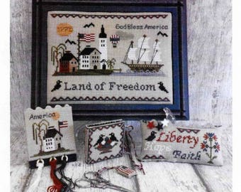 Counted Cross Stitch, Land of Freedom, Cross Stitch Patterns, Sewing Accessory, Patriotic Decor, Americana, Mani di Donna, PATTERN ONLY