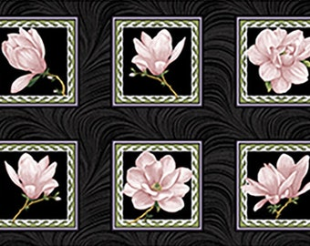 Quilt Fabric, Accent on Magnolias, Magnolia Blooms, Blocks Coral/Black, Floral Quilt Fabric, Benartex, Jackie Robinson, Animas Quilts