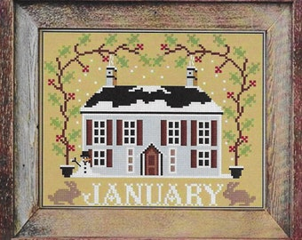Counted Cross Stitch Pattern, January Cottage, I'll Be Home Series, Winter Decor, Country Rustic, Twin Peak Primitives, PATTERN ONLY