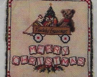 Counted Cross Stitch, Teddy Express Christmas, Christmas Ornament, Christmas Teddy Bear, Toys in the Attic, Blackberry Lane Designs, PATTERN