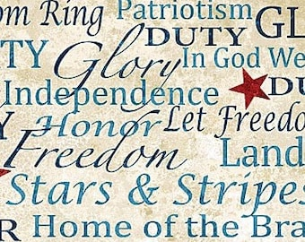 Quilt Fabric, Patriotic Words, Stonehenge, Stars & Stripes, Quilts of Valor, 100% Cotton, Quilter Cotton, Premium Cotton, Northcott, 39195