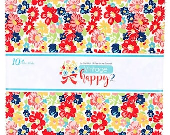 "Quilt Fabric, Vintage Happy 2, 10"" Stackers, Layer Cake Bundle, 100% Cotton, Premium Cotton, Lori Holt, Bee in My Bonnet, (42 10"" pcs)"