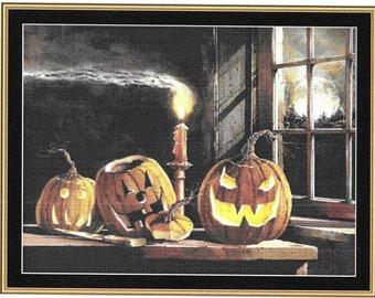 Counted Cross Stitch Pattern, The Cutting Board, Pumpkins, Halloween Decor, Autumn, Farmhouse, John Rossin, Mystic Stitch Inc, PATTERN ONLY