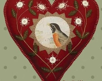 Wool Applique Pattern, Let Your Heart Sing, Heart Ornament, Wool Art, Primitive Decor, Valentine Decor, Bonnie Sullivan PATTERN ONLY