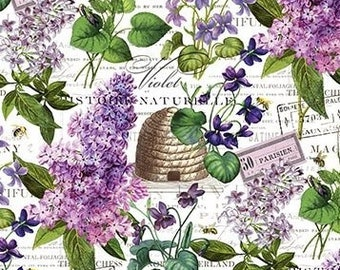 Quilt Fabric, Chelsea, Lilac Fabric, Purple Lilacs, Floral Fabric, Bee Skep, Cotton Quilting Fabric, Michel Design Works, Northcott