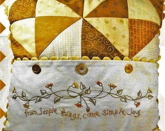 Embroidery Pillow Pattern, Simple Joys of Autumn, Fall Decor, Cottage Decor, Crabapple Hill Studio, Quilted Pillow, PATTERN ONLY