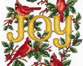 Counted Cross Stitch Pattern, Cardinals Joy, Cardinals, Holly Berries, Winter Decor, Imaginating, Ursula Michael, PATTERN or KIT ONLY