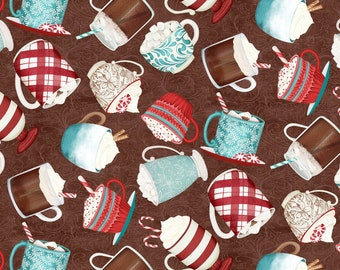 Quilt Fabric, Cuppa Cocoa, Brown Tossed Cups, Hot Cocoa, Quilters Cotton, 100% Cotton, Quilter Cotton, Premium Cotton, Danielle Leone