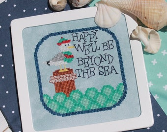 Counted Cross Stitch Pattern, Beyond the Sea, Sea Gull, Beach Decor, Cottage Chic, Summer Decor, Inspirational, Luhu Stitches, PATTERN ONLY
