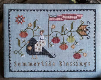 PRE-Order, Counted Cross Stitch Pattern, Summertide Blessings, Blackbird, Tomatoes, Patriotic, Americana, Plum Street Samplers, PATTERN ONLY