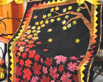 Quilt Pattern, Autumn Allure, Appliqued Quilted Wall Hanging, Fall Quilt, Lap Quilt, Scrap Quilt, Wall Hanging, Shabby Fabrics, PATTERN ONLY