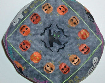 Counted Cross Stitch Pattern, A Spooky Biscornu, Halloween, Cats, Ghosts, Pumpkins, Autumn, Pincushion, Praiseworthy Stitches, PATTERN ONLY