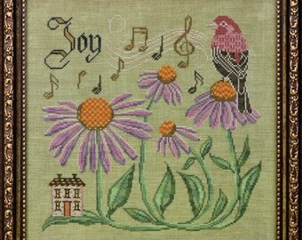 Counted Cross Stitch Pattern, Sing for Joy, Songbird's Garden, House Finch, Coneflowers, Folk Art, Cottage Garden, PATTERN ONLY